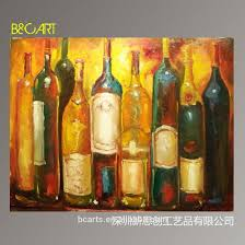 handpainted canvas abstract wine bottle still life oil painting