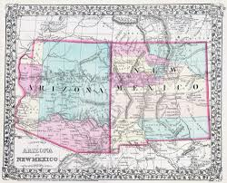 Arizona Political Map by Large Detailed Old Map Of Arizona And New Mexico States U2013 1877
