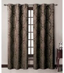 Grommet Window Curtains Bedding Chocolate Jacquard Grommet Window Curtain Panel