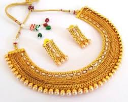 bridal jewellery south indian pearl necklace set one gram gold plated bridal