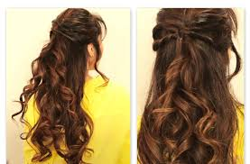 curly half down prom hairstyles back view eso cxgl medium hair