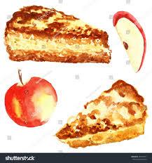 set apple pie piece cake watercolor stock illustration 473310751