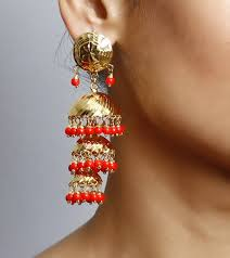 Buy Kundan Embellished Dangler Earrings Buy Orange Beads Embellished Dangler Jhumka 217ed234 Online