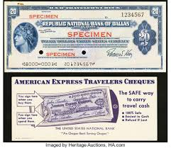 what is a travelers check images Dallas tx republic national bank 20 traveler 39 s check lot chain