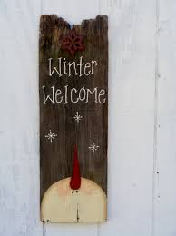 primitive snowman welcome sign by theprimplace on etsy snowmen