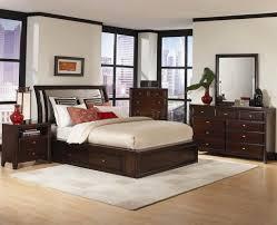 Bedrooms  Contemporary Bedroom Sets Cherry Finish Modern Set - Dark wood bedroom furniture sets