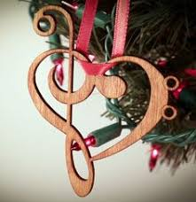 special wood note musical ornament made from notes to form a