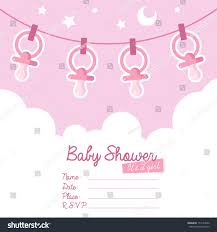 Babyshower Invitation Cards Cute Pink Baby Shower Invitation Card Stock Illustration 157144532