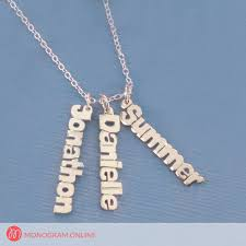3 name necklace personalized horizontal 3 mini name necklace monogram online