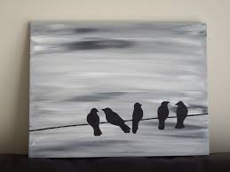 Black And White Painting Ideas | bird silhouette acrylic painting on canvas grey black white