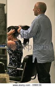tulisa contostavlos at nick chavez hair salon los angeles stock