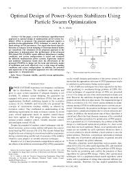 optimal design of power system stabilizers using particle swarm