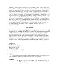 cover letter sample resume chef sample chef resume objectives
