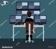 workplace security guard security guard watching stock vector