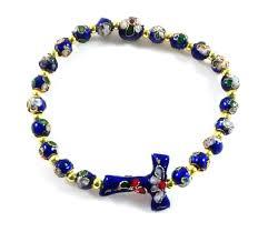 rosary bracelet blue cloisonne bead tau cross rosary bracelet