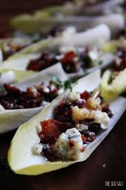 thanksgiving appetizer endive boats with bacon walnuts