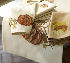 pumpkin embroidered table runner pottery barn