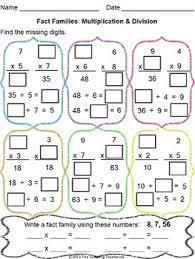 multiplication u0026 division fact families worksheet
