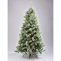 7ft artificial flocked christmas tree with pine cones and white