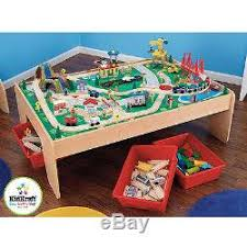 kidkraft train table compatible with thomas wooden train table and 120 piece waterfall mountain train set with 3 b