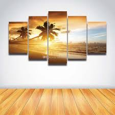 posters for home decor 2018 5 panel canvas prints palm tree sunset seascape picture sea