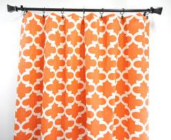 orange panel curtain moroccan orange and white apache quatrefoil