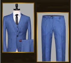 Light Blue Vest Jacket Pants Vest Fashion Brand Men Suits Light Blue Blazers Male