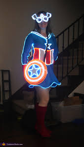 Glow Halloween Costume Captain America Creative Diy Halloween Costume
