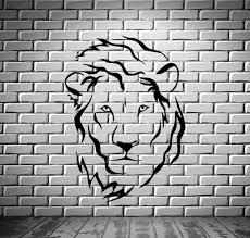 lion head predator king tribal simbol decor wall mural vinyl art lion head predator king tribal simbol decor wall mural vinyl art stick wallstickers4you