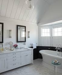 Bathroom Accent Tables White Vanity With Black Mirror Transitional Bathroom