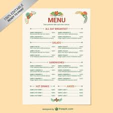 snack bar menu template editable restaurant menu template vector free