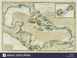 Map Of Gulf Of Mexico by The Antilles And Gulf Of Mexico 18th Century Map Stock Photo