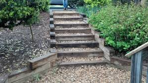 wonderful outside steps constructed by wooden ladder and created