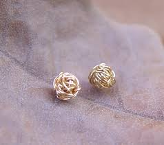 gold second studs gold knot stud earrings gold stud earrings tiny wire