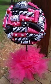 hello kitty baby shower ribbon topiary in hello kitty zebra