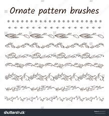 set ornament brush patterns borders ribbons stock vector 656131645