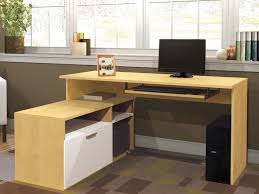 khaki l shaped desk with hutch and drawer plus computer stand on