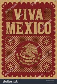 vintage viva mexico mexican holiday vector stock vector 159978887