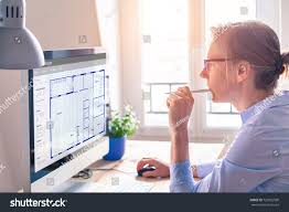 how to draw floor plans on computer architect working on computer software design stock photo
