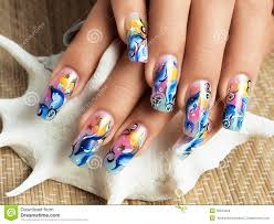 ladys hands and manicure fingers with place for art nail design