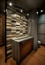 high quality wood accent wall powder room designs with pedestal