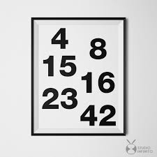 Yosemite Home Decor Wall Art Lost Tv Show Poster Lost Numbers Wall Art Black And White