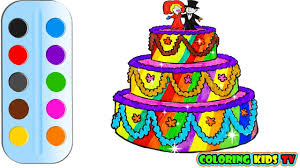 coloring pages birthday cake for kids u0026 drawing for children how