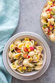 Pasta Salad Recipies by Pasta Salad With Corn Bacon And Buttermilk Ranch Dressing Recipe