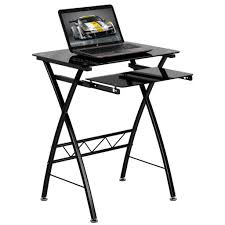 computer computer desk space saver inside black tempered glass