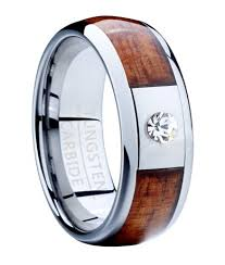 wood mens wedding bands men s tungsten ring with koa wood and cz