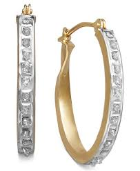 oval hoop earrings 14k yellow or white gold earrings diamond accent oval hoop