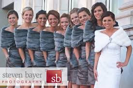 fur shawls for bridesmaids steven bayer photography wedding details