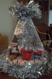 tabletop snowman tree handmade with garland fishing