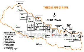 Nepal On Map Nepal Trekking Information